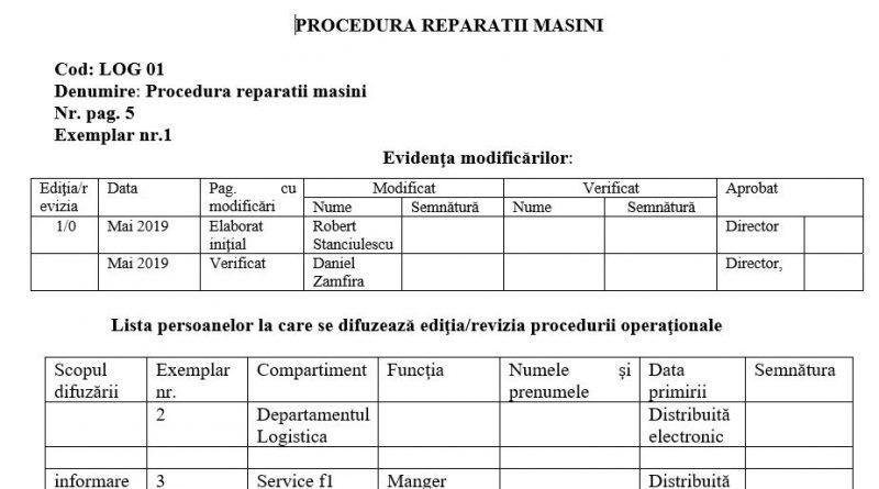 procedura reparatii masini